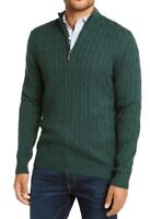 Club Room Mens Sweater Pine Green Size 2XL Cable Knit 1/4 Zip Pullover $65 187