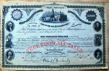 LOAN OF CITY OF PHILADELPHIA, PENNSYLVANIA $1000 BOND,  dated 1887