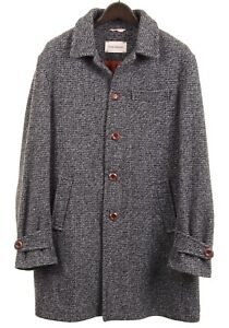 Oliver Spencer Made in ENGLAND Gray Melange Wool Mid-Length Overcoat 44