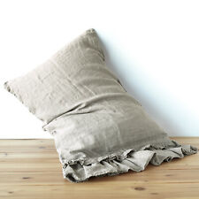 Linen pillow case sham DOUBLE RUFFLE pure linen 100% linen stonewashed Washed