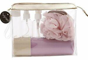 Toiletry Bag Travel Set Bottles Pump Mug Body Puff Cosmetic Bag New Holiday UK