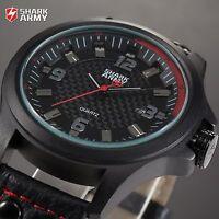 Avenger Shark Army Mens Wrist Watch Sport Leather Date Quartz Analog Fashion