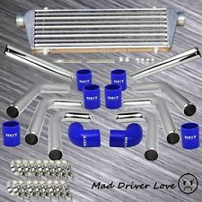 "DIY 8x 2.5"" TURBO ALUMINUM PIPE FRONT MOUNT INTERCOOLER PIPING KIT +BLUE COUPLER"