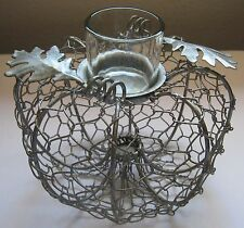 Chicken Wire Metal Pumpkin Candle Holder Autumn Fall Squash Votive Decoration