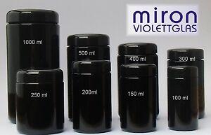 Miron Violettglas Weithalsdosen Mironglas diverse Größen von 100 bis 1000 ml