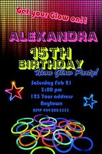 NEON GLOW in the dark Disco Birthday party invitations personalized You print