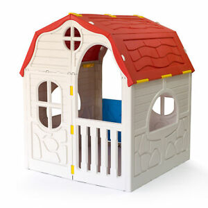 Ram Quality Products Kid's Cottage Foldable Plastic Toddler Outdoor Playhouse