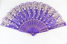 Spanish Style Purple Dance Wedding Party Lace Silk Folding Hand Held Flower Fan