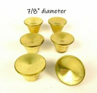 Lot Small Vintage Concave Knobs Gold Tone Mid Century Dresser Pulls
