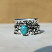 Turquoise Ring 925 Sterling Silver Spinner Ring Meditation Ring Jewelry A295
