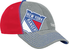 NEW YORK RANGERS REEBOK NHL GRAY & RED DRAFT FLEX FIT HAT S/M NEW & LICENSED