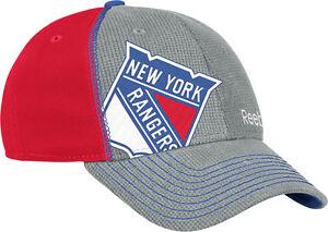 NEW YORK RANGERS REEBOK NHL GRAY & RED DRAFT FLEX FIT HAT S/M NEW & LICENSED