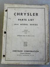 CHRYSLER CORPORATION PASSENGER CAR 1941 FACTORY PARTS CATALOGUE