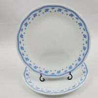 "Set of 2 Vintage Corelle Morning Blue Dinner Plates 10 1/4""  Ribbon Floral"