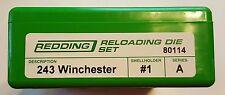 80114 REDDING 2-DIE FULL LENGTH 243 WINCHESTER DIE SET - BRAND NEW - FREE SHIP