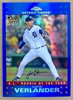 2007 Topps Chrome Justin Verlander Rookie Card RC Blue Refractor Detroit Tigers