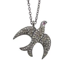 Diamond Pave Dove Charm Pendant Necklace Latest Sterling Silver Designer Jewelry