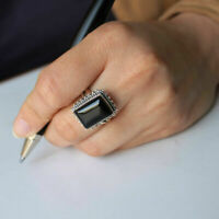 Solid 925 Sterling Silver Square Shape Black Onyx Handmade Ring KGJ-R-1092