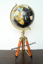 "Modern Retro 12"" Long World Globe With Leather Tripod Stand Beautiful Gift Item"
