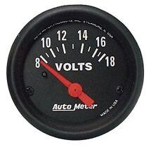 "Auto Meter Z-Series Electric Voltmeter Gauge 2-1/16"" (52mm) 8 - 18 Volts"