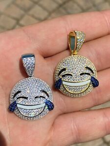 925 Sterling Silver Hip Hop LOL Emoji Pendant Necklace Iced Smiley Laughing 😂