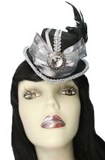 Mini Fascinator Top Hat Silver Shimmer Steampunk Gothic Party Cocktail Showgirl