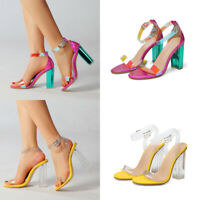 WOMEN'S LADIES BUCKLE BLOCK HIGH HEEL ANKLE STRAP PEEP TOE SANDALS SHOES SIZE