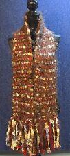 Platania Italian Women's Scarf Brown Red Metallic Ribbon