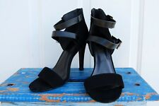 Heart in D Women's Black Faux Suede Heel Sandals Buckle Open Toe Strappy size 8