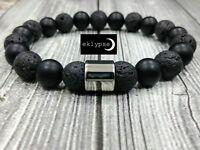 """8""""L Stainless Steel 10mm Matte Black Onyx & Lava Gemstone Beaded Unisex Bracelet"""