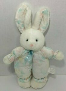 COMMONWEALTH toys Vintage white Bunny Rabbit Plush pastel floral flowers outfit