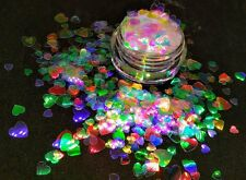 HEART Shape Glitter~ Multi-Sizes~Solvent Resistant~Acrylic Nails~Nail Art~ USA