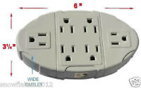 6 Outlet 3 Prong Grounded Electric Wall Tap Power Plug Adapter New