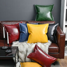 Luxury Cushion Cover Faux Leather Oil Wax Back Pillow Case Soft Room Car Decor