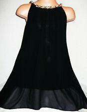 GIRLS 60s BLACK LACE NECKLACE TRIM SPLIT BACK CHIFFON PARTY DRESS age 3-4