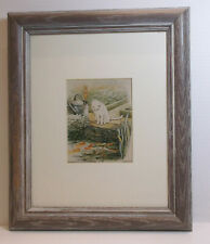 Vintage Kitty Cat & Bunny Donald Art Company Print Matted Framed 12 1/4 X 10""