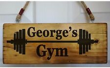 PERSONALISED Gym Name Door Sign Fitness Workout Training Plaque Wood Fun Gift