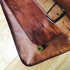 NEW Vintage Style Messenger Shoulder Laptop Goat Leather Full Flap Office Bag