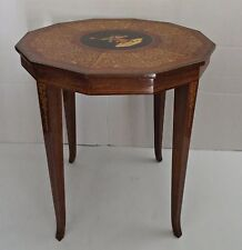 Vintage Italian Sorrento Marquetry Dancing Couple Inlaid Wood Side Lamp Table