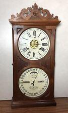 Ithaca Double Dial Calendar Mantle Clock Farmer No 10 NICE