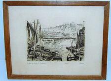 """Lithographie BESSAN M., """"Le fort du Roule à Cherbourg"""""""