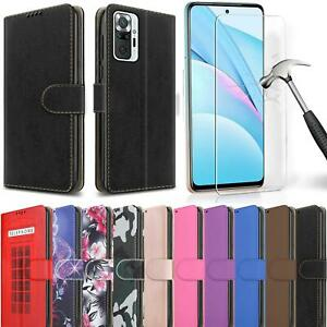 For Xiaomi Redmi Note 10 Pro Case, Leather Wallet Stand Cover + Tempered Glass