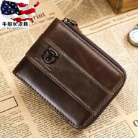 RFID BULLCAPTAIN Mens Real Leather Zipper Around Card Slots Coin Wallet Purse US