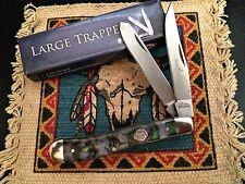 Large 2 Blade Trapper Folding Pocket Knife Abalone Handles Rite Edge 210973-PU