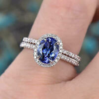 2CT Oval Cut Tanzanite Halo Diamond Wedding Bridal Ring Set 14k White Gold Over