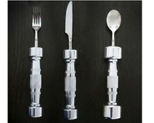 Eat Fit Dumbbell Cutlery Set - Fork Knife Spoon (3 piece) - Fitness Gift