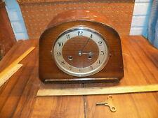 Vintage Haller Wood Case Mantel Clock w Key & Pendlum