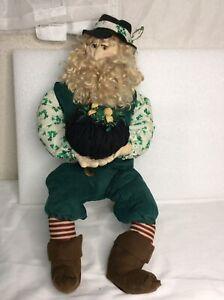 """Vintage Leprechaun Doll  Papermache Face Wire & Irish Wear St Patricks Day 21"""""""