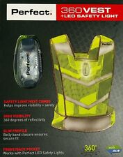 Perfect 360 Vest + LED Safety Light, Neon Florescent Yellow Green **BRAND NEW**