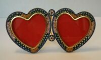 Vintage MICRO MOSAIC Double Heart Floral Picture Frame ITALIAN Victorian Blue